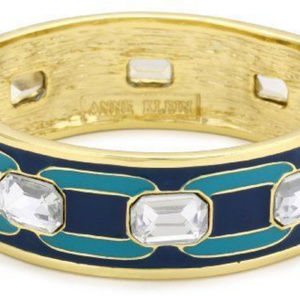 ANNE KLEIN DECO'ED OUT ENAMEL GOLD  HINGED BANGLE